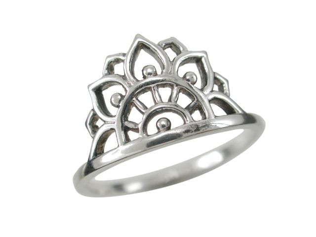 Sterling Silver 11mm Bohemian Style Lotus Petals Ring