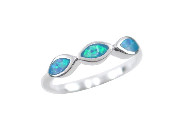 Sterling Silver 3.5mm Marquise Blue Synthetic Opal Ring