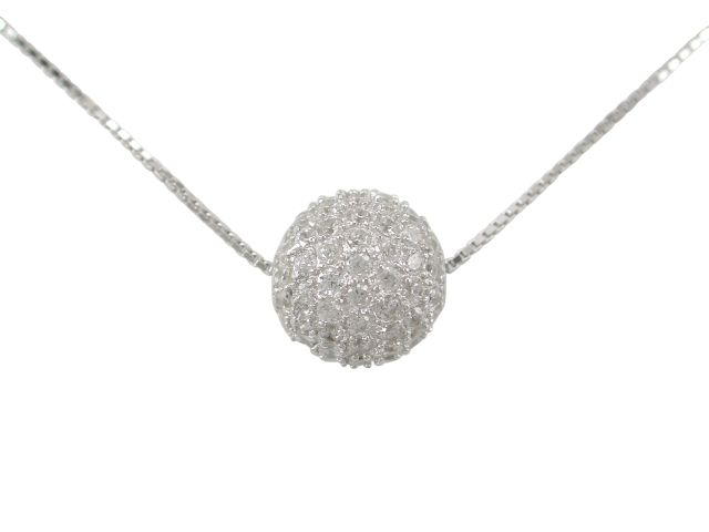 Sterling Silver 10mm White Cubic Zirconia Ball Necklet 40cm