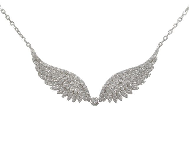 Sterling Silver 40x15mm White Cubic Zirconia Angel Wings Necklet 40-44cm