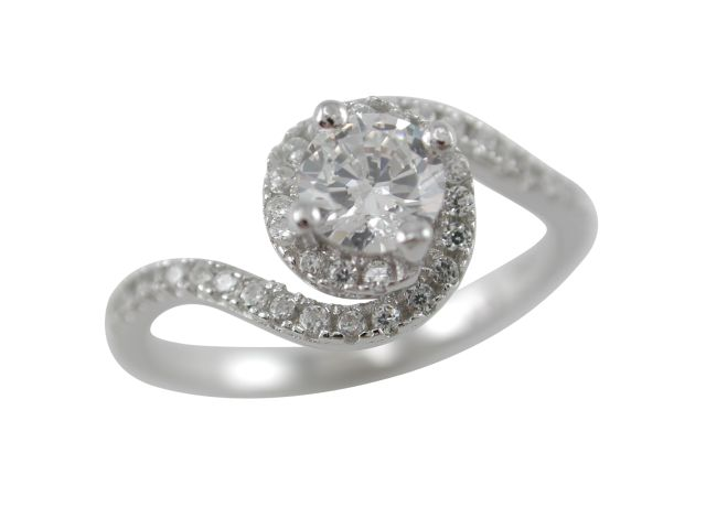 Sterling Silver 9mm White Cubic Zirconia Crossover Ring