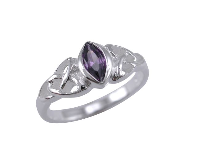 Sterling Silver 6mm Marquise Purple Cubic Zirconia Celtic Ring