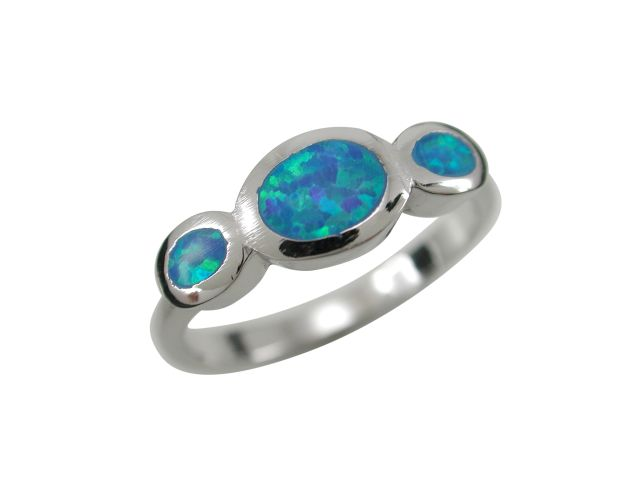 Sterling Silver 6mm Oval Blue Synthetic Opal Crossover Ring