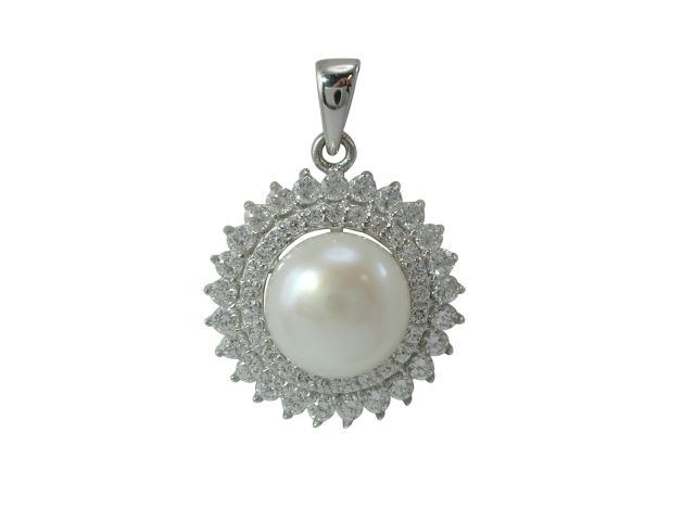 Sterling Silver 8mm Freshwater Pearl & Cubic Zirconia Pendant