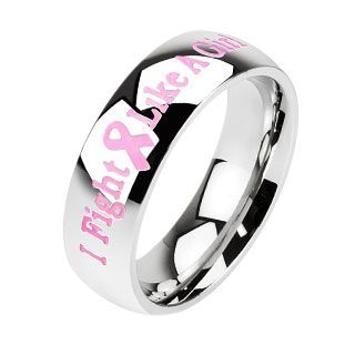 Stainless Steel 6mm Pink Ribbon *i Fight Like A Girl* Ring