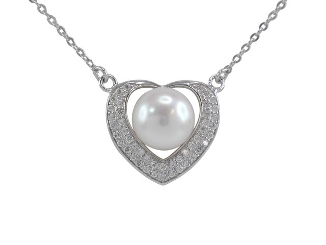 Sterling Silver 10mm Freshwater Pearl & White Cubic Zirconia 18mm Heart Necklet 45cm