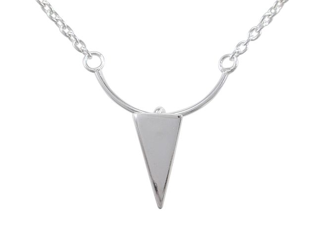 Sterling Silver 15x12mm Triangle Geometric Necklet 40cm