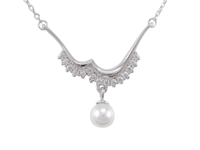 Sterling Silver 25x22mm White Cubic Zirconia & Freshwater Pearl Necklet 40-45cm