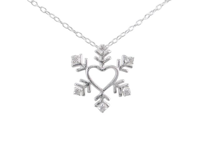 Sterling Silver 16mm White Cubic Zirconia Heart Snowflake Necklet 45-50cm