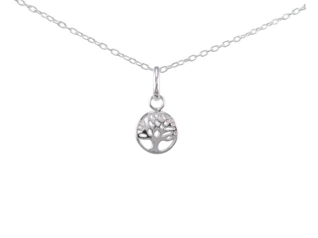 Sterling Silver 8mm Tree Of Life Necklet 45cm