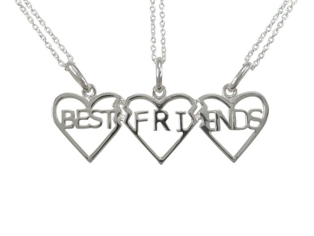 Sterling Silver 40x12mm Best Friends Necklet (splits Into 3 Separate Necklaces Includes 3 Chains) 40-45cm