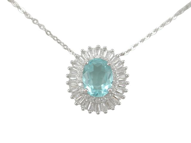 Sterling Silver 16x14mm Oval Aqua & Tapered Baguette White Cubic Zirconia Necklet 40-43cm