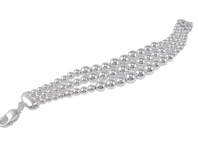 Sterling Silver 5mm To 9mm Graduated Three Row Ball Bracelet 20cm