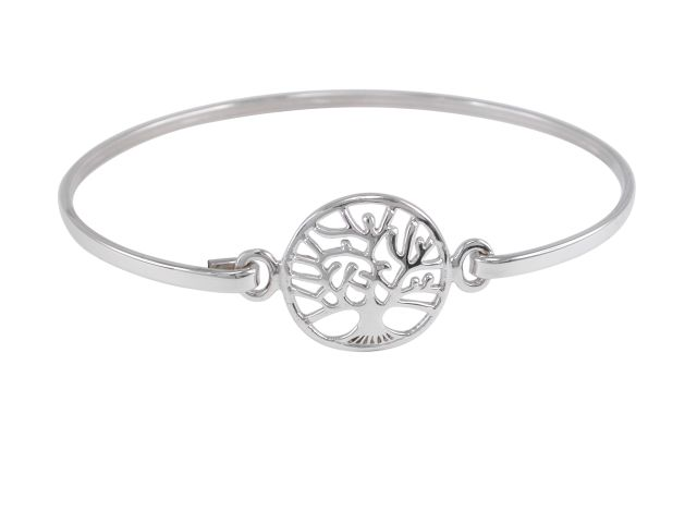 Sterling Silver 16mm Tree Of Life Bangle 60x50mm
