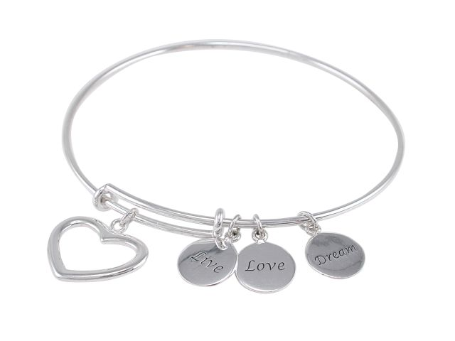 Sterling Silver Heart With Dream, Live,love Discs Charms On Expanding Bracelet 62mm