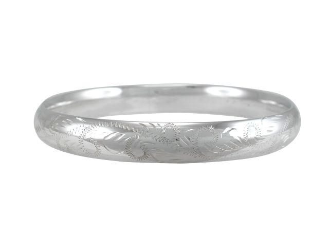 Sterling Silver 10mm Engraved Hollow Comfort Fit Golf Bangle 65mm