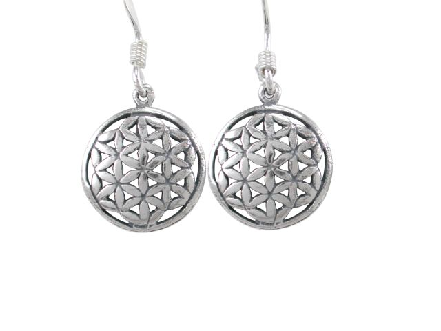 Sterling Silver 11mm Round Flower Of Life (sacred Geometry) Drop Earrings