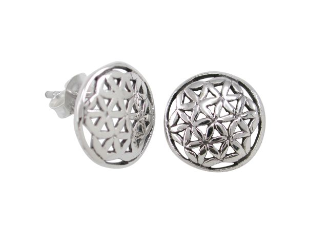 Sterling Silver 12mm Round Flower Of Life (sacred Geometry) Stud Earrings
