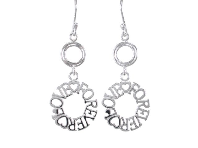 Sterling Silver 30x15mm *love Forever* Circle Drop Earrings