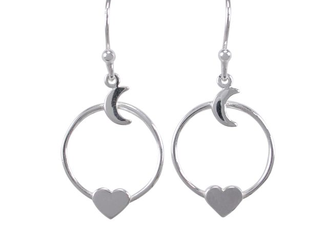 Sterling Silver 21x16mm *love You To The Moon & Back* Drop Earrings