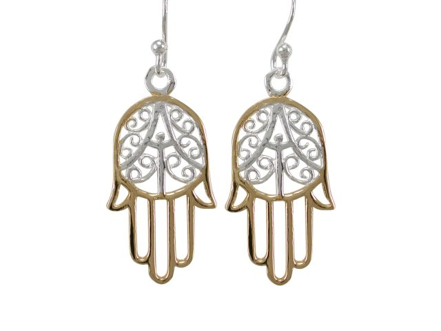 Sterling Silver 22x13mm Gold Plated Hamsa Hand (hand Of Miriam) Drop Earrings