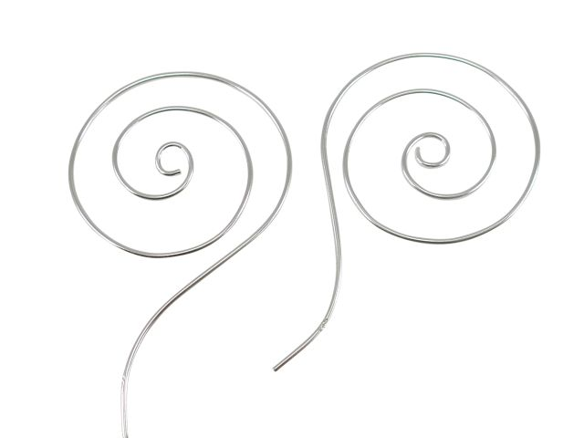 Sterling Silver 40x25mm Spiral Wire Thread Through Hoop Earrings