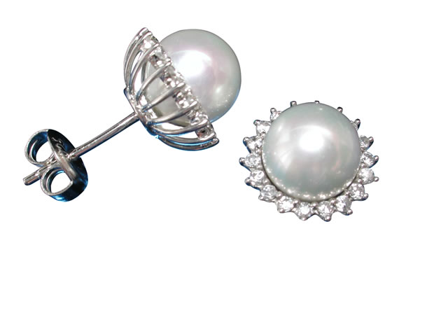 Sterling Silver 8mm Imitation Pearl & Cubic Zirconia Stud Earrings