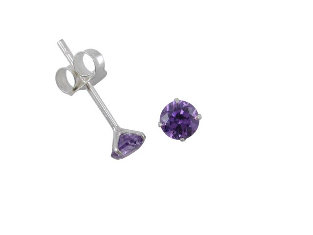 Sterling Silver 4mm Purple Cubic Zirconia Stud Earrings
