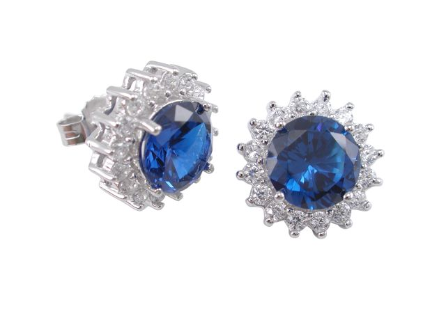 Sterling Silver 12mm Round Blue Cubic Zirconia Stud Earrings