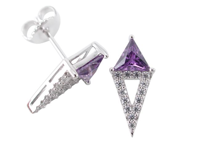 Sterling Silver 15x7mm Purple Cubic Zirconia Triangle Stud Earrings