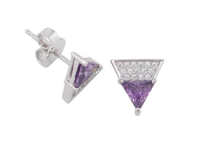 Sterling Silver 10mm Purple Cubic Zirconia Triangle Stud Earrings