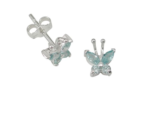 Sterling Silver 6x7mm Aqua Cubic Zirconia Butterfly Stud Earrings