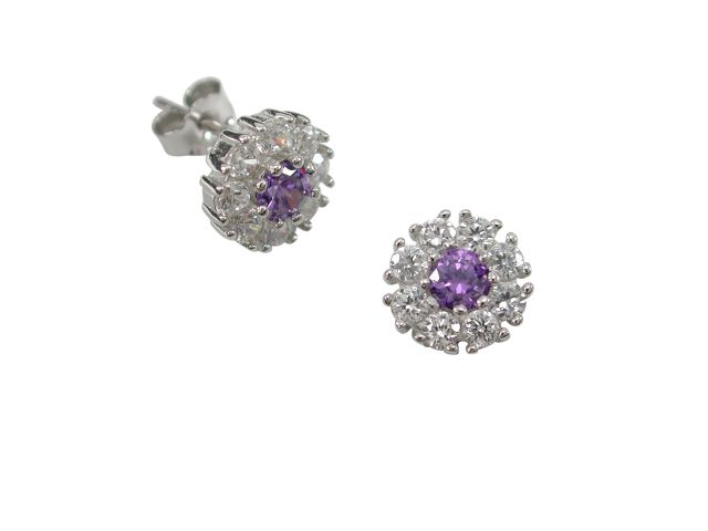 Sterling Silver 8mm Purple & White Cubic Zirconia Stud Earrings