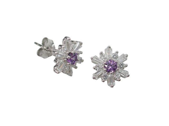 Sterling Silver 9mm Purple & White Cubic Zirconia Stud Earrings
