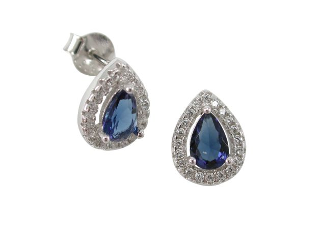 Sterling Silver 10x8mm Blue Cubic Zirconia Teardrop Stud Earrings
