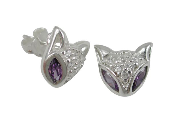 Sterling Silver 12mm Purple & White Cubic Zirconia Cat Face Stud Earrings