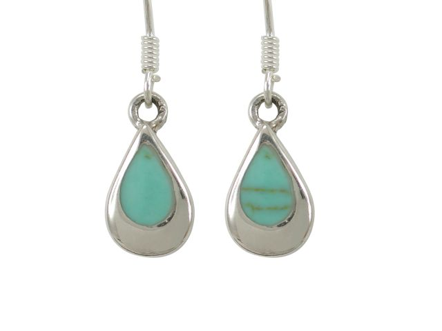 Sterling Silver 12x8mm Teardrop Green Turquoise Drop Earrings