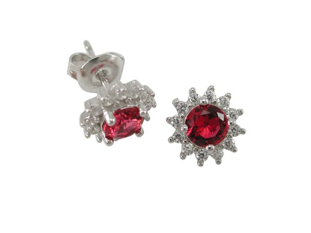 Sterling Silver 9mm Red & White Cubic Zirconia Round Cluster Stud Earrings