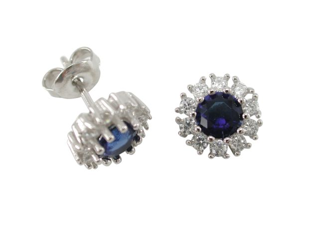 Sterling Silver 10mm Blue & White Cubic Zirconia Round Cluster Stud Earrings