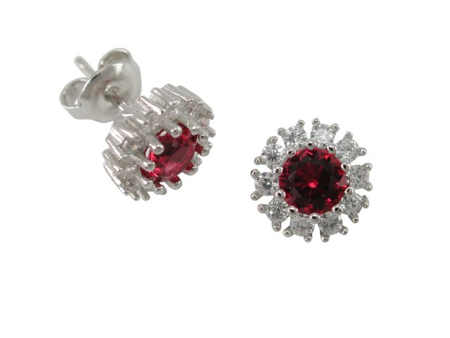 Sterling Silver 10mm Red & White Cubic Zirconia Round Cluster Stud Earrings