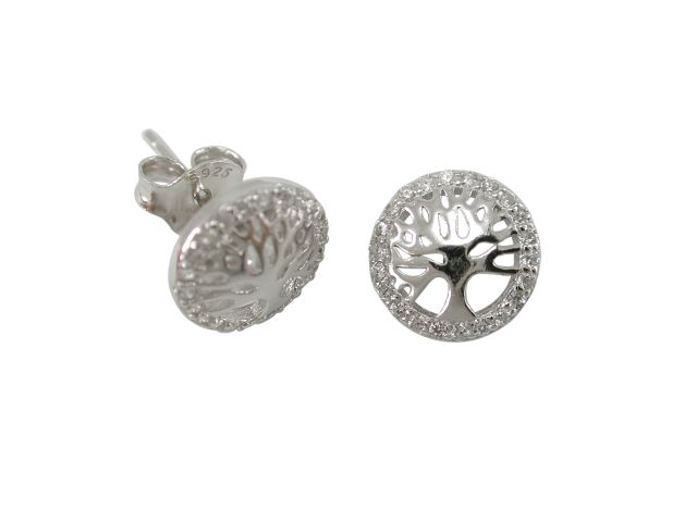 Sterling Silver 9mm White Cubic Zirconia Tree Of Life Stud Earrings