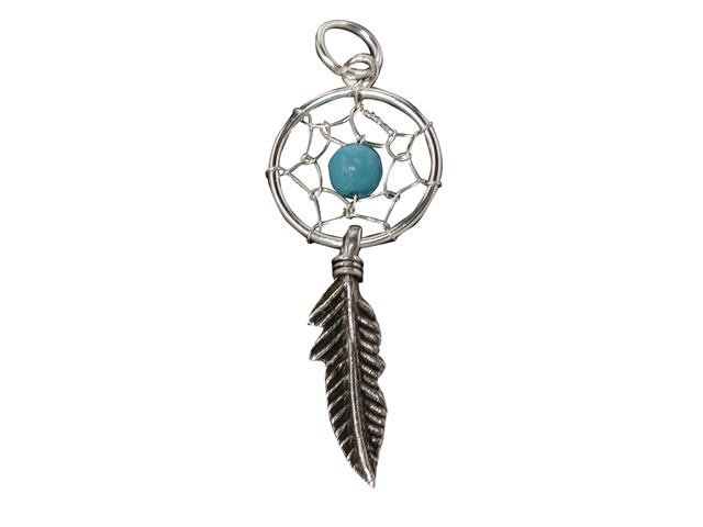 Sterling Silver 25x12mm Blue Turquoise Feather Dream Catcher Pendant