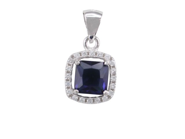 Sterling Silver 10mm Blue & White Cubic Zirconia Cushion Cut Pendant