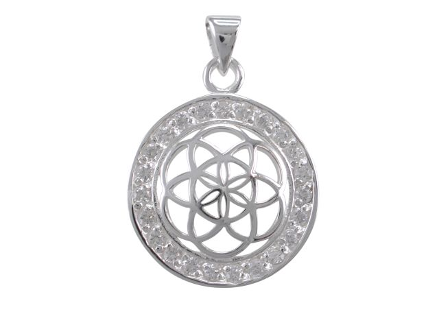 Sterling Silver 20mm White Cubic Zirconia Flower Of Life (sacred Geometry) Pendant