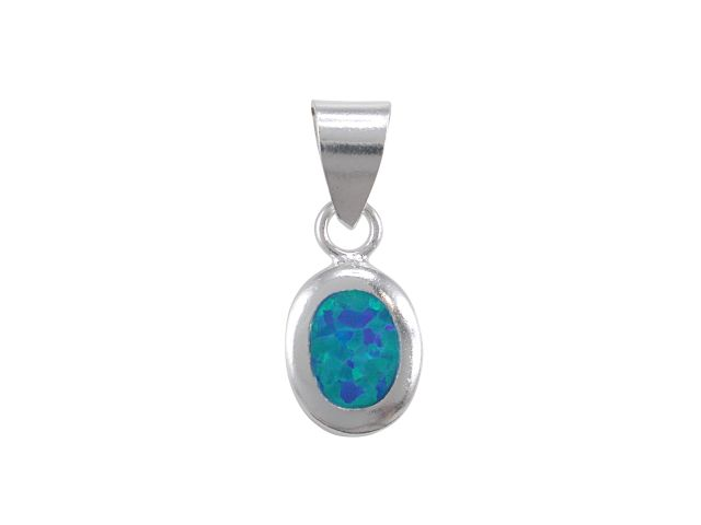 Sterling Silver 8x7mm Oval Synthetic Opal Pendant