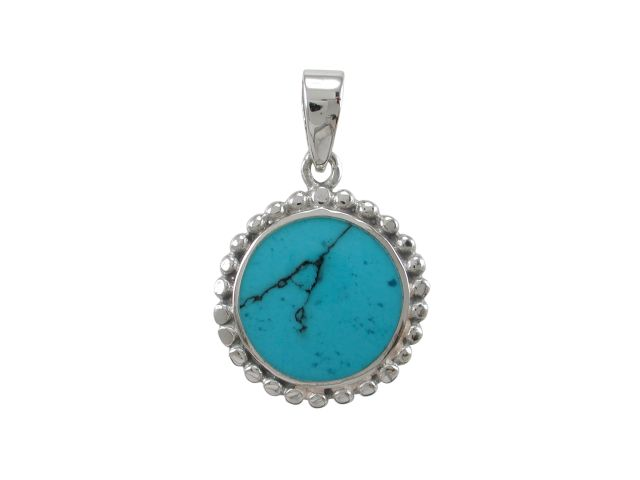 Sterling Silver 17mm Round Blue Turquoise Pendant