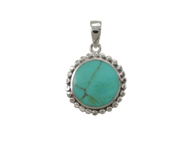 Sterling Silver 17mm Round Green Turquoise Pendant