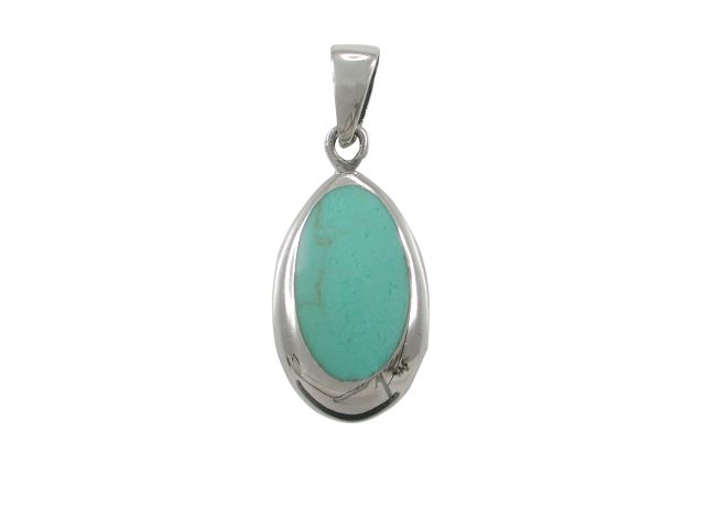 Sterling Silver 17x11mm Oval Green Turquoise Pendant