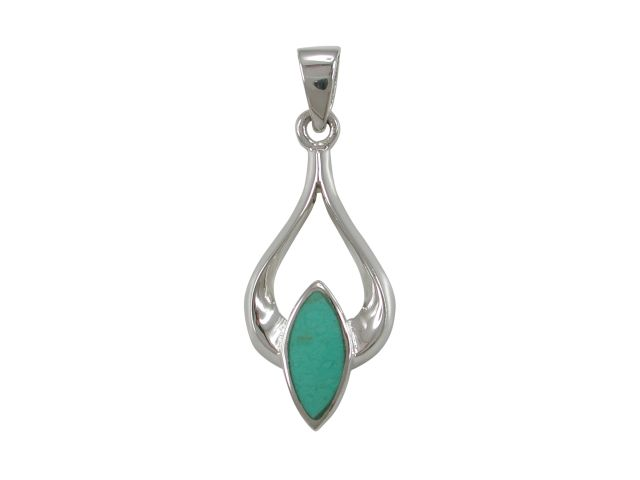 Sterling Silver 25x13mm Green Turquoise Pendant