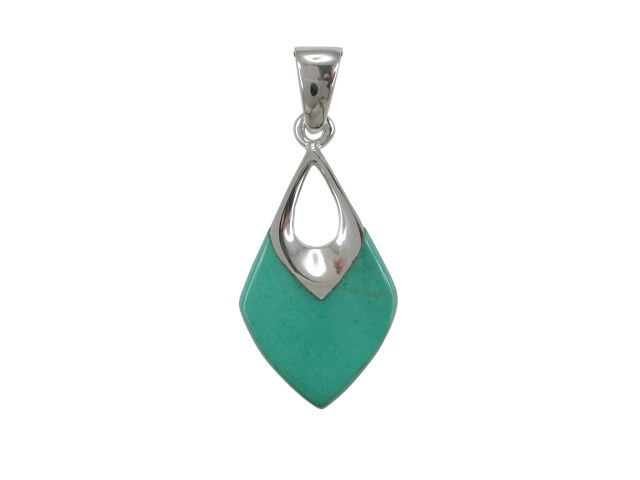 Sterling Silver 22x13mm Green Turquoise Pendant